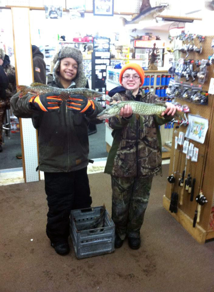 Dontay G. and Mathew B. from Mt Pleasant caught 13 Pike today on tip-ups with Golden Shiners