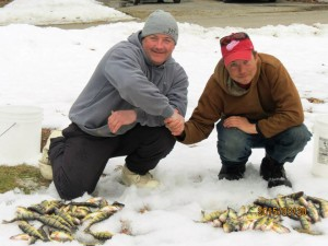 Bob Stockton and Bob the Bear Hunter with some perch from Higgins the 20th