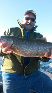 Dan Dorherty with a nice lake trout from East Grand Traverse Bay.
