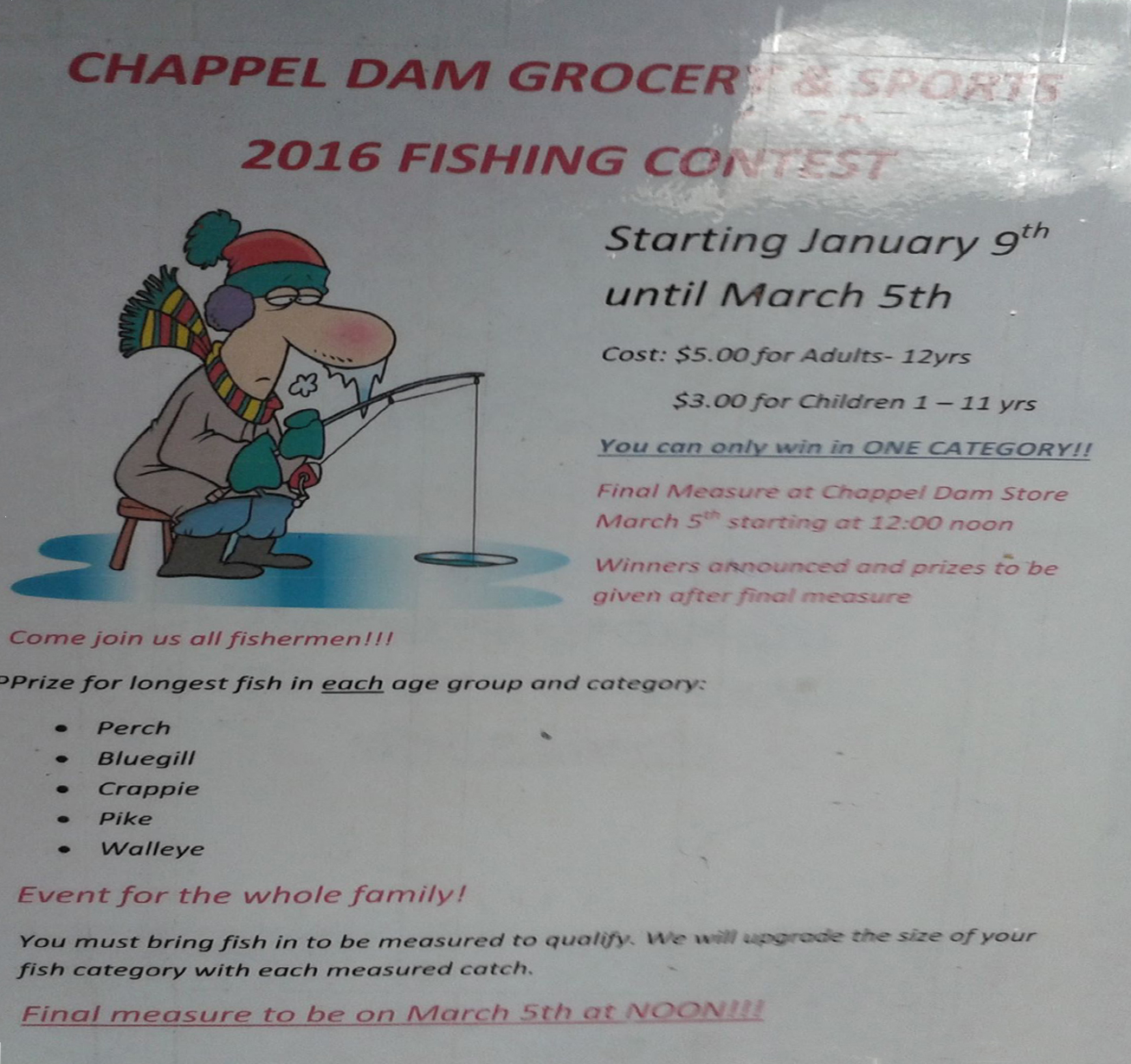 Chapped Dam Grocery ice fishing Contest